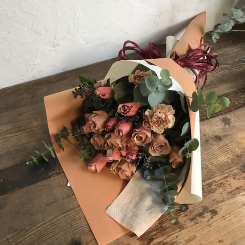 バラ 花束 ブラウン L スタンダード