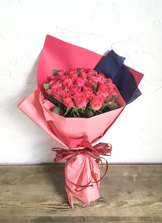 バラ 花束 ダークピンク M (30本入)