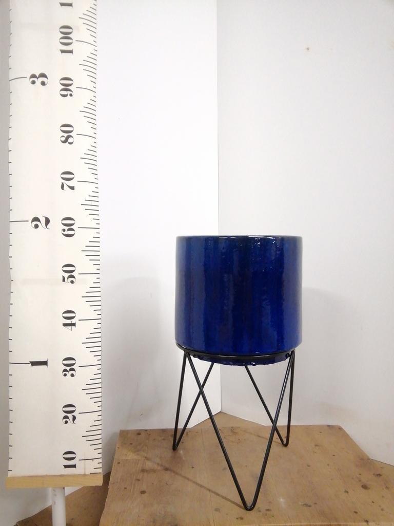 鉢カバー  ビトロ エンデカ  8号鉢用 ブルー アイアンポットスタンド ブラック 付き #KONTON VT-011B10V