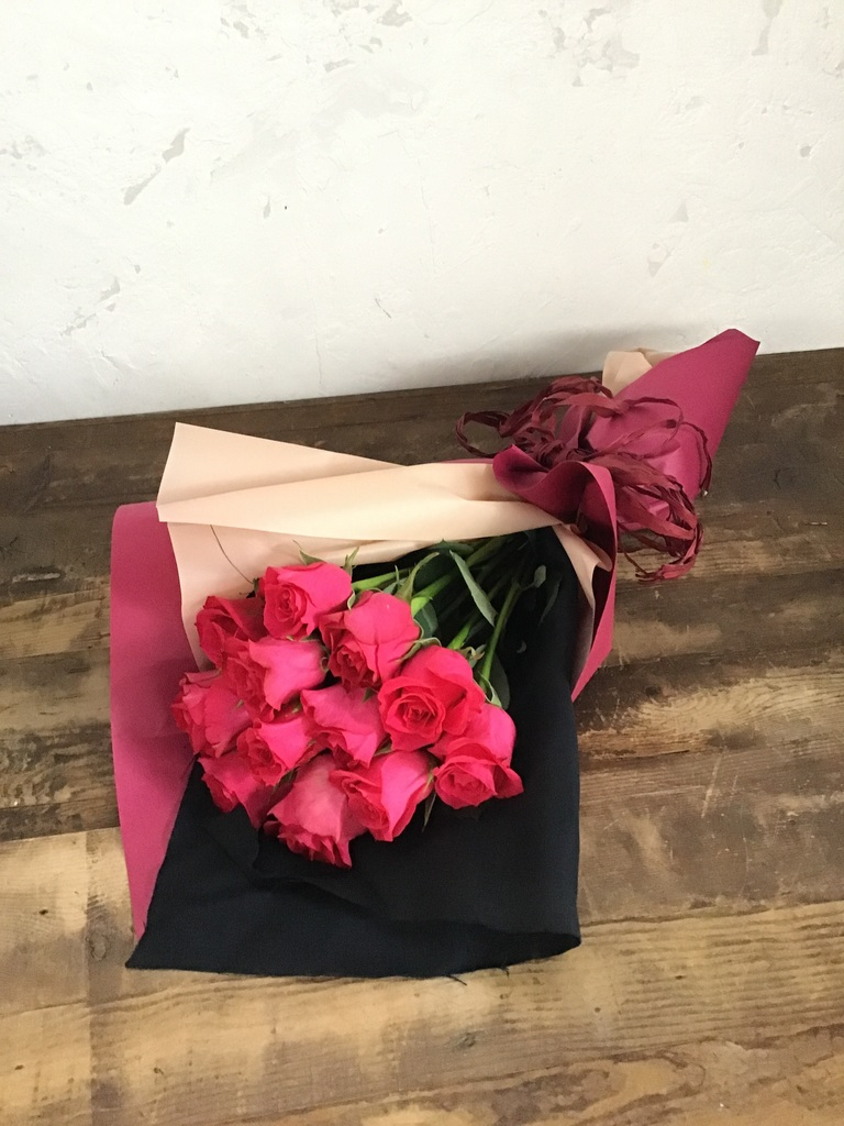 バラ 花束 ダークピンク S (12本入)