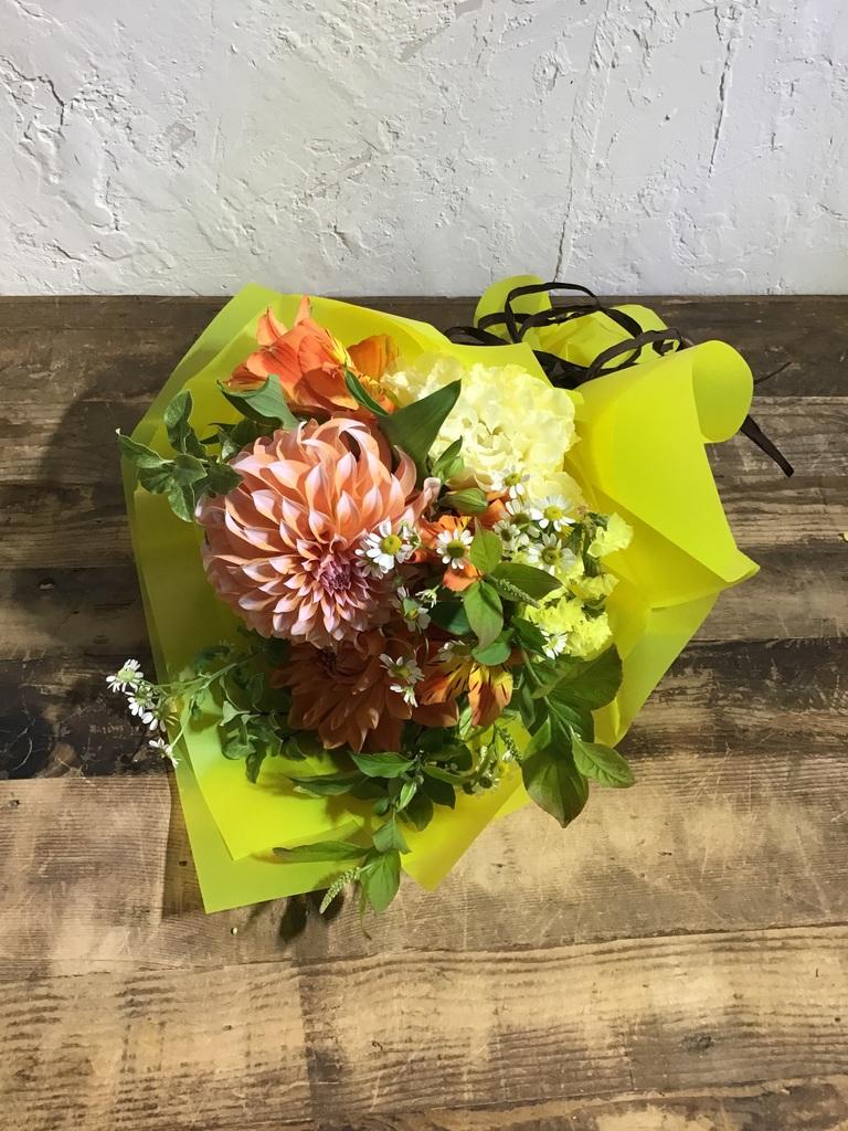 ダリア 花束 オレンジ SS ナチュラルブーケ【送料無料】#2019母の日