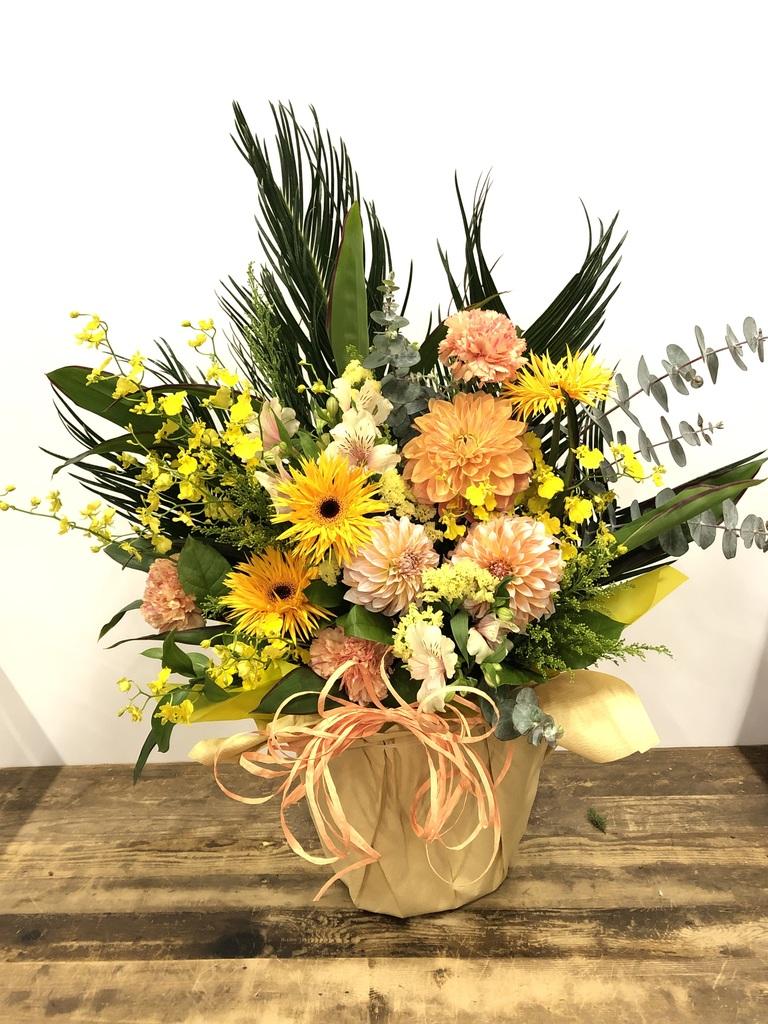 【全国配送】 オレンジ系 季節の豪華アレンジメント 10,000円 【当日発送可】