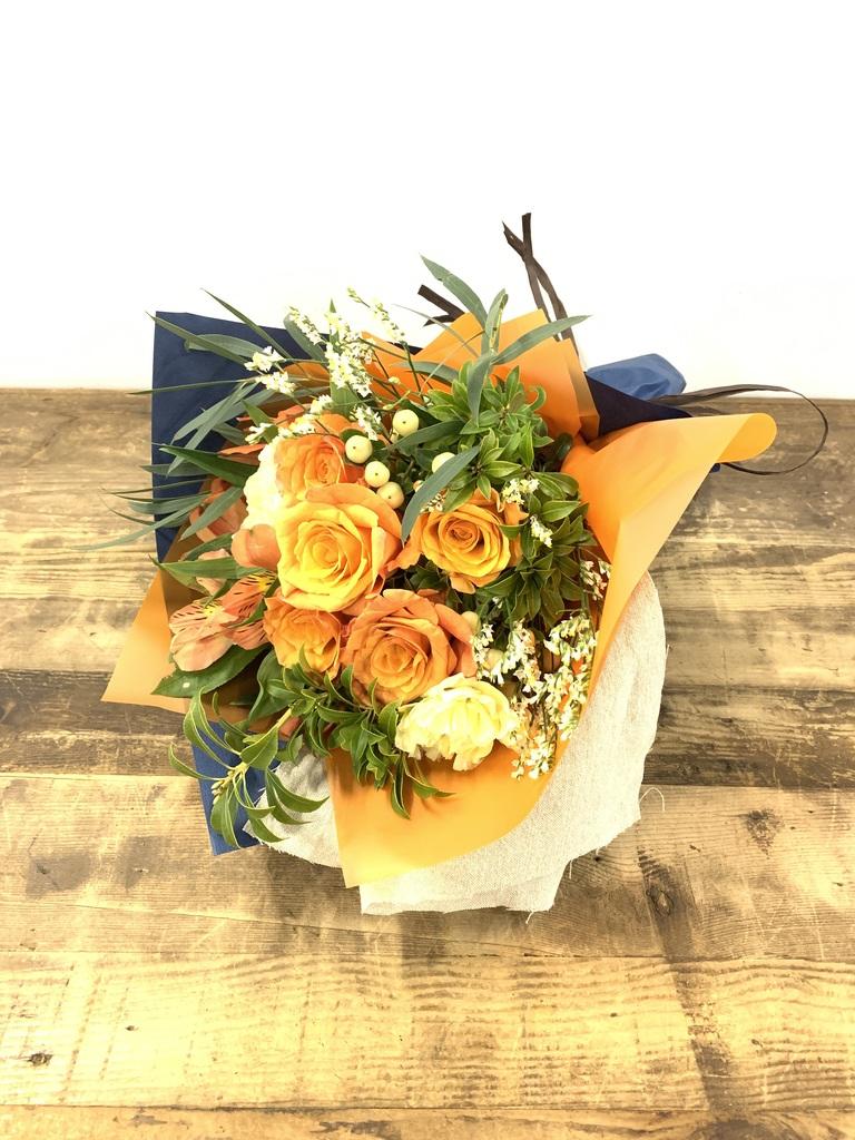 バラ 花束 オレンジ S ナチュラルブーケ