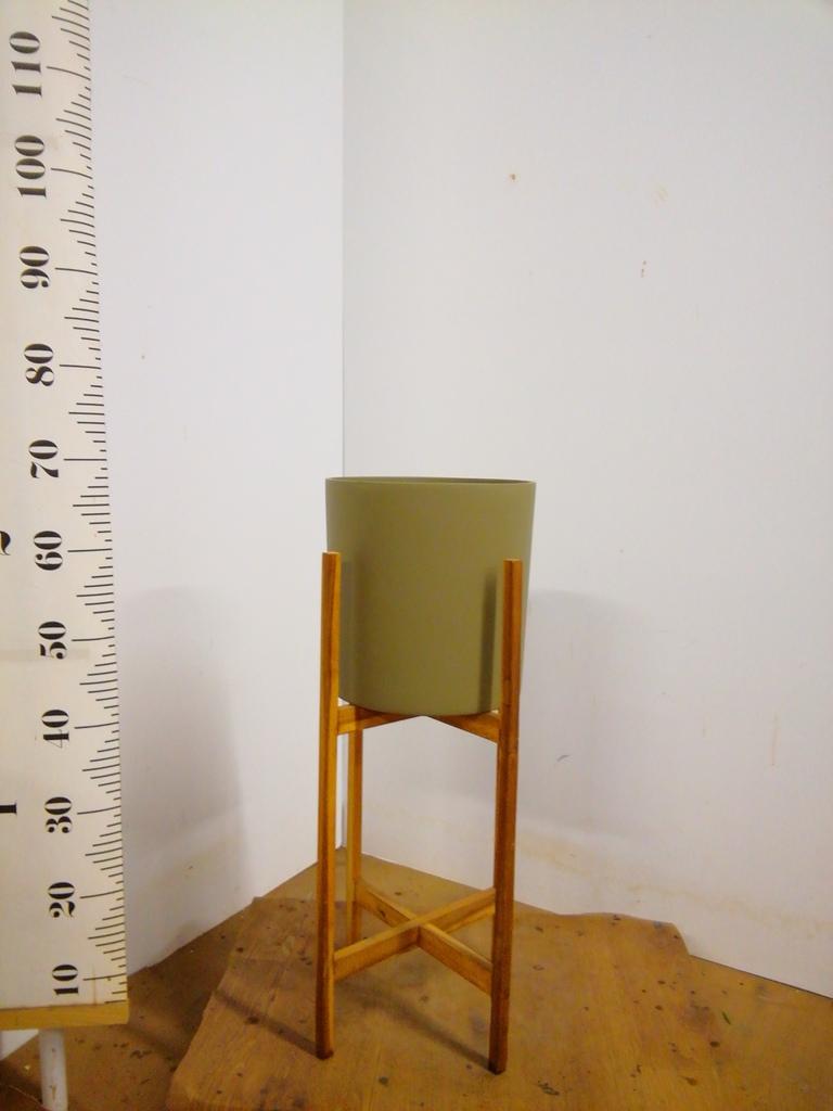 鉢カバー  ホルスト シリンダー 8号鉢用 オリーブ ウッドポットスタンド付き #KONTON HO-R01G10V