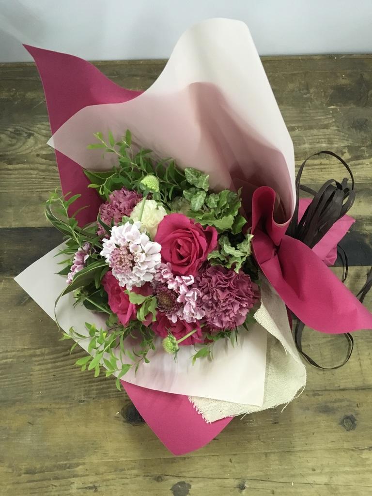 バラ 花束 ダークピンク S ナチュラルブーケ