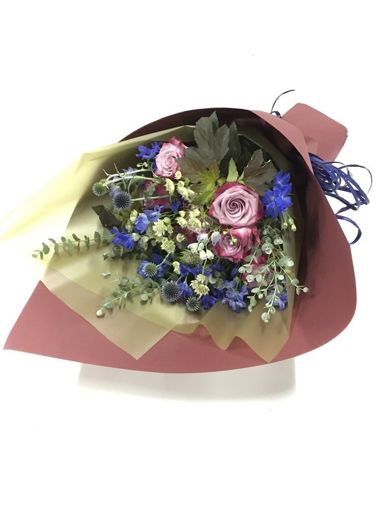 バラ 花束 紫 L ナチュラルブーケ