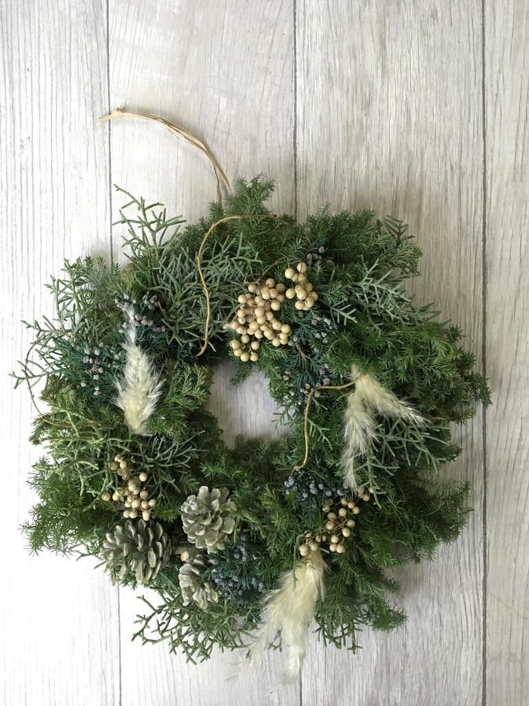 生花クリスマスリース フレッシュ(ホワイト)Mサイズ 約25㎝