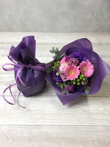 バラ グラスブーケ 紫 M エクリュポット Mサイズ付き
