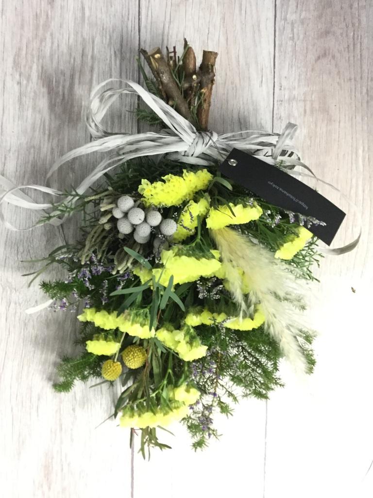 【季節の花】 スターチス スワッグ(イエロー系) Sサイズ