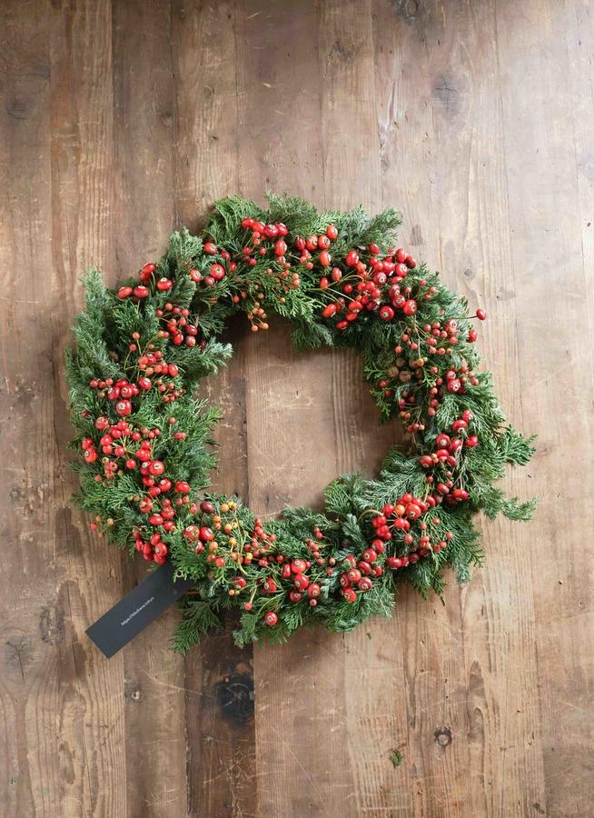 クリスマスリース ナッツリング  (赤実) Lサイズ 約40㎝