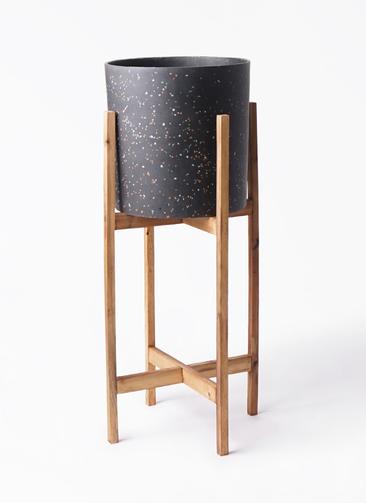 鉢カバー  ホルスト シリンダー 6号鉢用 スパークルブラック ウッドポットスタンド付き #KONTON HO-R01B09V