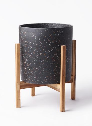 鉢カバー ホルスト シリンダー 8号鉢用 スパークルブラック ウッドポットスタンド付き #KONTON HO-R01B10V