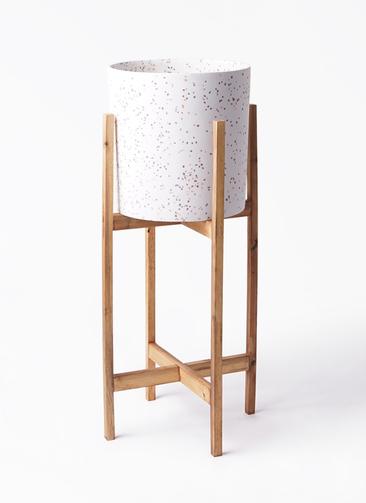 鉢カバー  ホルスト シリンダー 6号鉢用 スパークルホワイト ウッドポットスタンド付き #KONTON HO-R01P09V