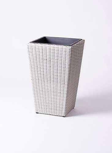 鉢カバー  ウィッカーポット スクエアロング OT 8号鉢用 白