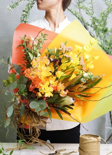 スイートピー 花束 オレンジ M