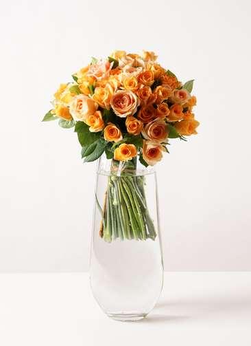 バラ グラスブーケ オレンジ L (50本入) リバーベース Lサイズ付き