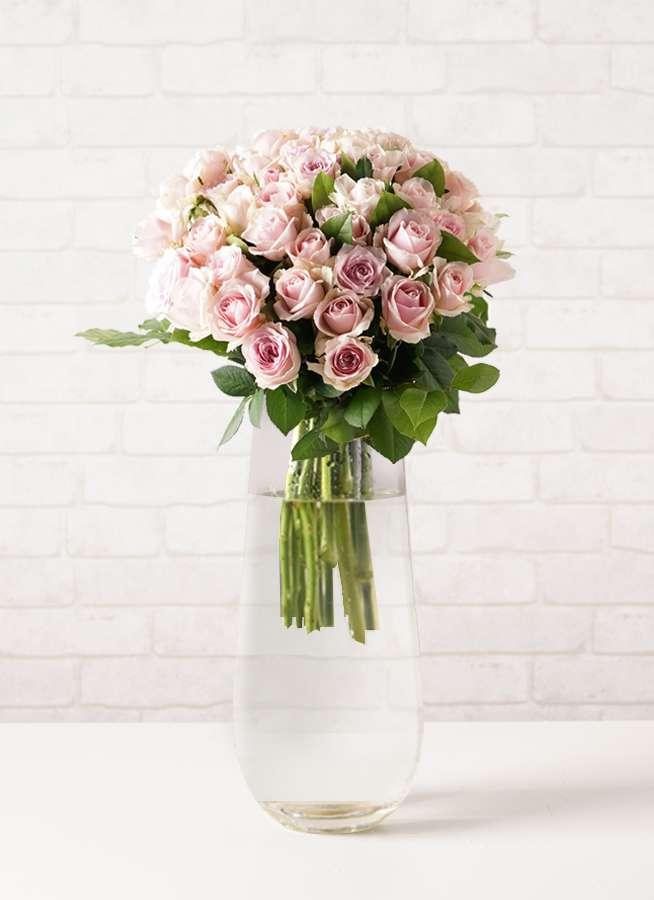 バラ グラスブーケ ピンク L (50本入) リバーベース Lサイズ付き