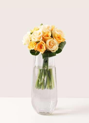 バラ グラスブーケ オレンジ S (12本入) リバーベース Lサイズ付き