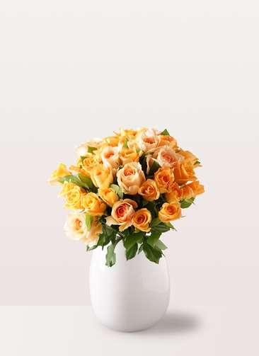 バラ グラスブーケ オレンジ M (30本入) エクリュポット Lサイズ付き