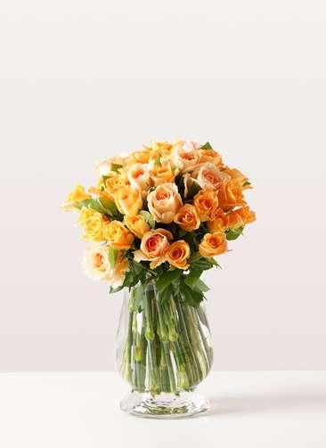 バラ グラスブーケ オレンジ M (30本入) Duskポット Mサイズ付き