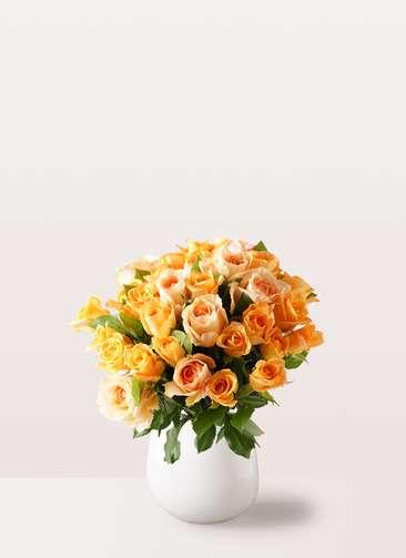 バラ グラスブーケ オレンジ M (30本入) エクリュポット Mサイズ付き