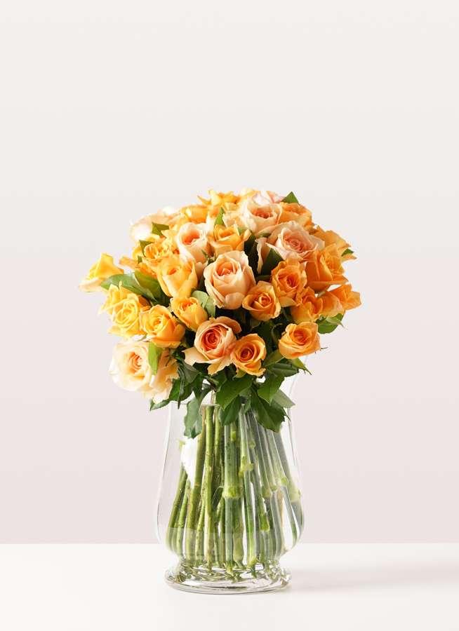 バラ グラスブーケ オレンジ M (30本入) Duskポット Lサイズ付き