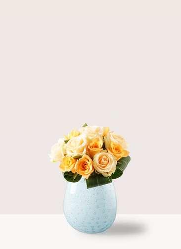 バラ グラスブーケ オレンジ S (12本入) ペイルポット Sサイズ付き