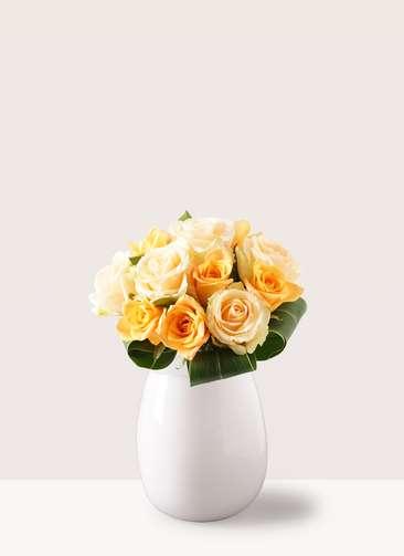 バラ グラスブーケ オレンジ S (12本入) エクリュポット Lサイズ付き