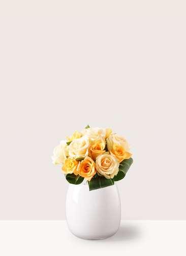 バラ グラスブーケ オレンジ S (12本入) エクリュポット Sサイズ付き