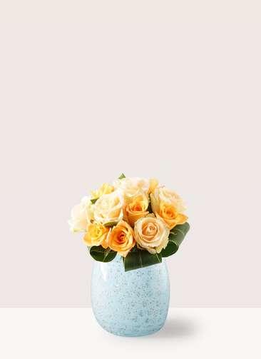 バラ グラスブーケ オレンジ S (12本入) ペイルポット Mサイズ付き
