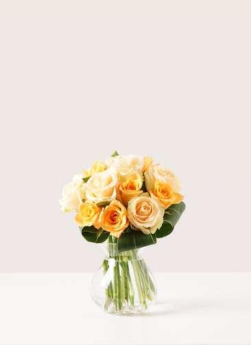 バラ グラスブーケ オレンジ S (12本入) フラワボワーズ Mサイズ付き