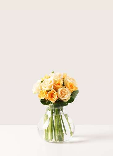 バラ グラスブーケ オレンジ S (12本入) フローレット Mサイズ付き