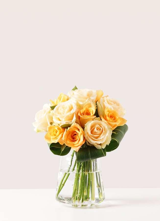 バラ グラスブーケ オレンジ S (12本入) 台形ポット Lサイズ付き