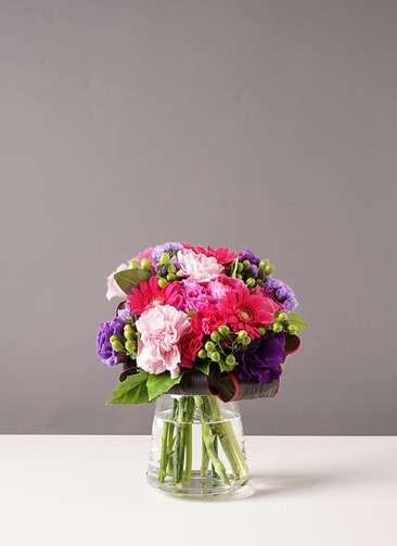 バラ グラスブーケ 紫 S 台形ポット Mサイズ付き
