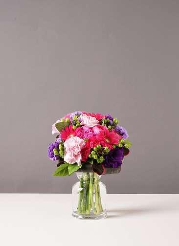 バラ グラスブーケ 紫 S バルブベース Sサイズ付き