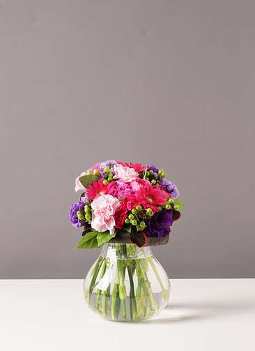 バラ グラスブーケ 紫 S フローレット Mサイズ付き