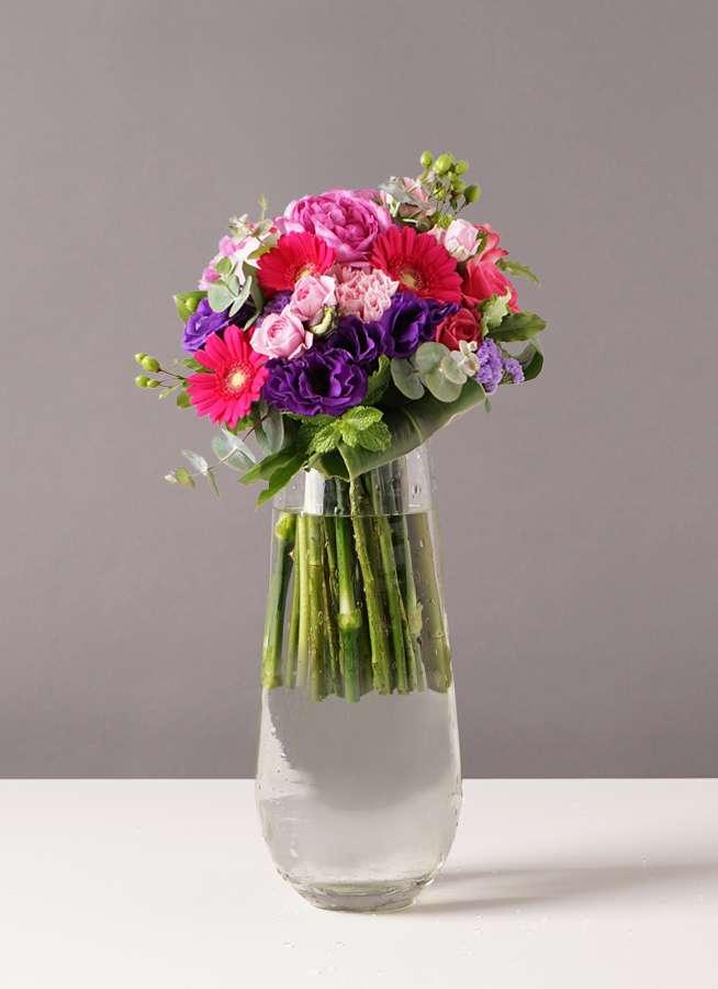 バラ グラスブーケ 紫 M リバーベース Lサイズ付き