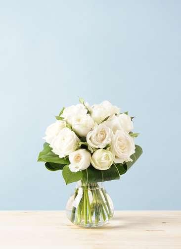バラ グラスブーケ ホワイト S (12本入) フラワボワーズ Mサイズ付き