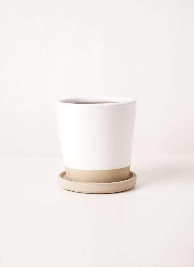 鉢カバー  Mat Glaze Terracotta(マット グレーズ テラコッタ) ホワイト 3号 #stem c6314