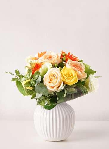 バラ グラスブーケ オレンジ S Hammershoi (ハンマースホイ) ベース S ホワイト付き