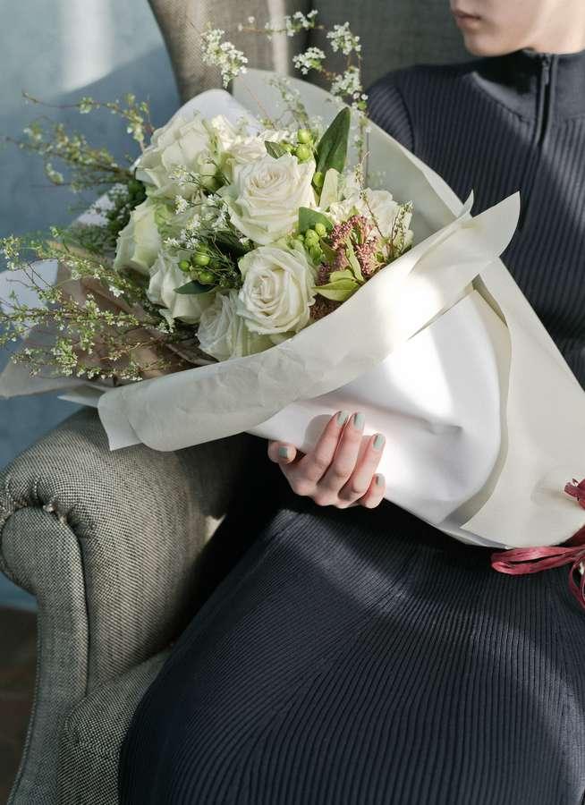 バラ 花束 白 L スタンダード
