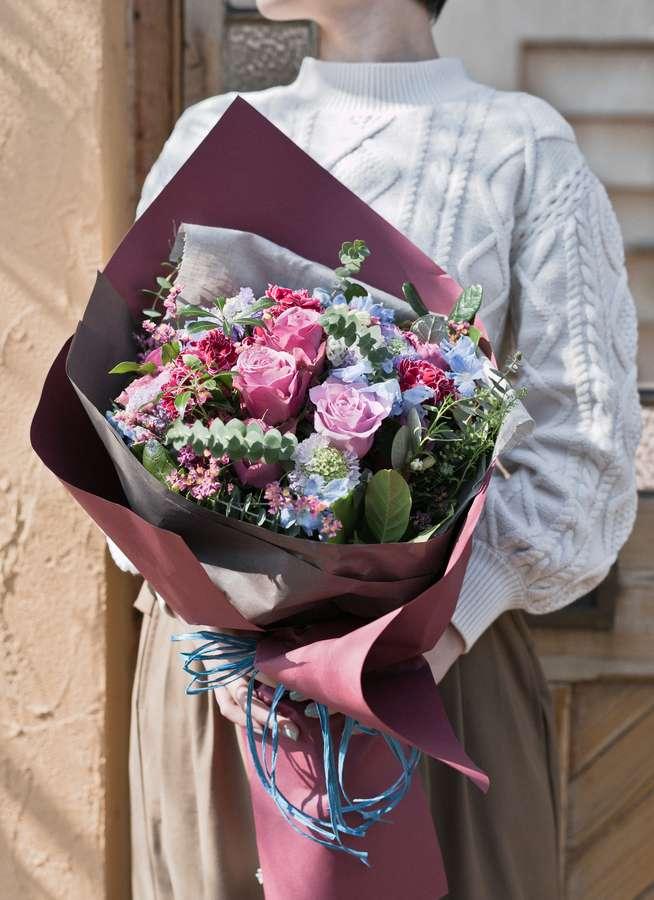 バラ 花束 紫 M ナチュラルブーケ