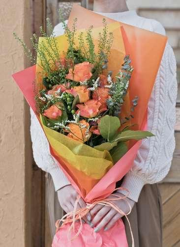 バラ 花束 オレンジ M スタンダード