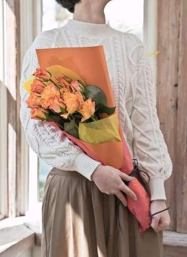 バラ 花束 オレンジ S (12本入)