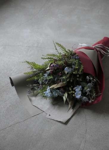 草花系 花束 ブルー&パープル L スタンダード