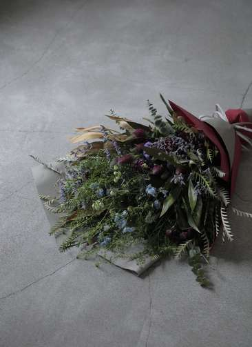 草花系 花束 ブルー&パープル L ナチュラルブーケ