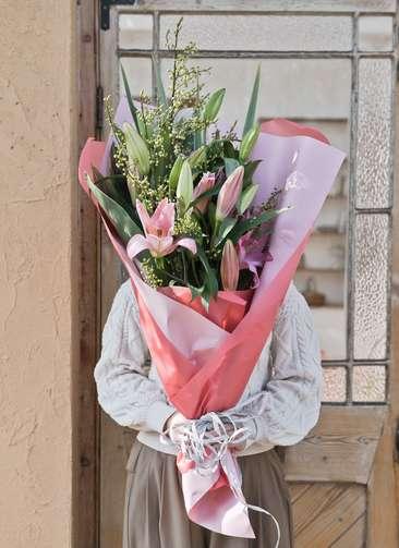 ユリ 花束 ピンク M スタンダード