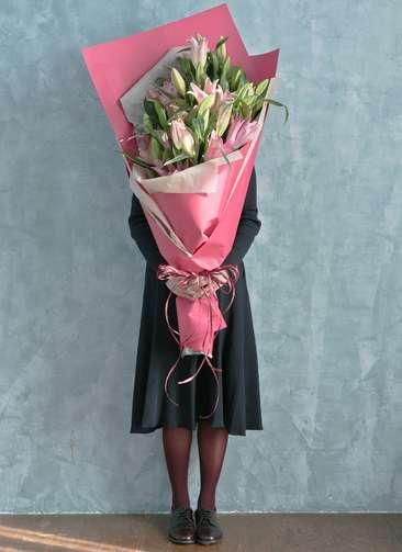 ユリ 花束 ピンク L