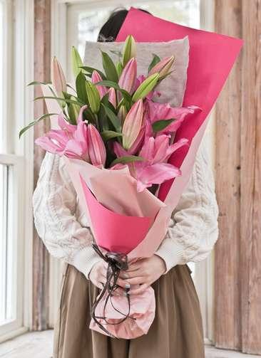 ユリ 花束 ピンク S