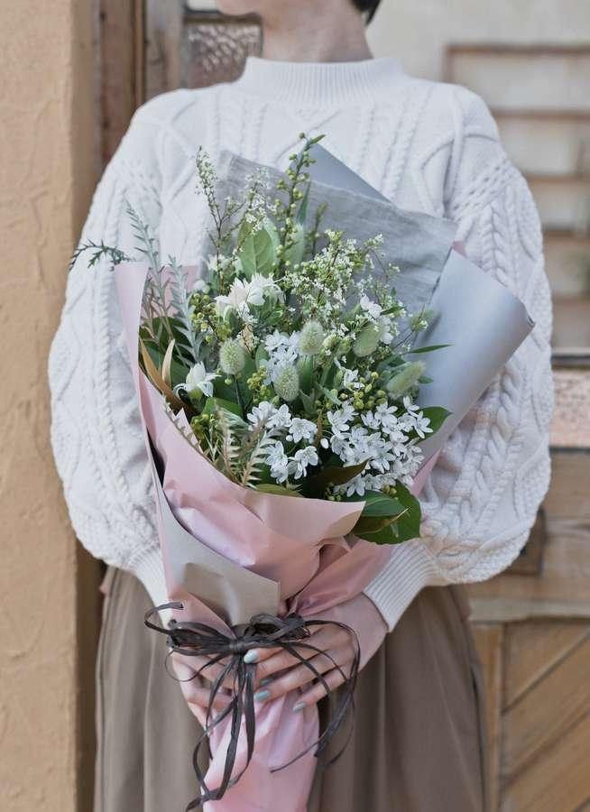 草花系 花束 ホワイト M ナチュラルブーケ